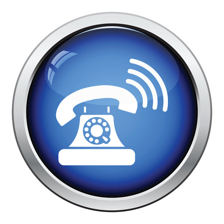 old telephone: Old telephone icon. Glossy button design. Vector illustration. Illustration