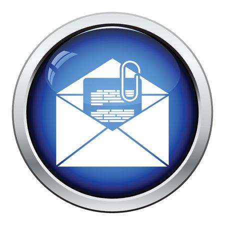 attachment: Mail with attachment icon. Glossy button design. Vector illustration.