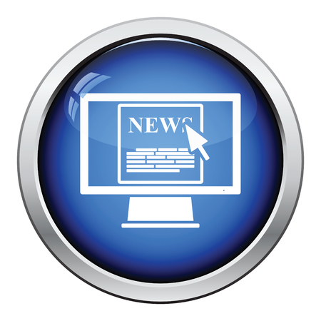 news flash: Monitor with news icon. Glossy button design. Vector illustration.