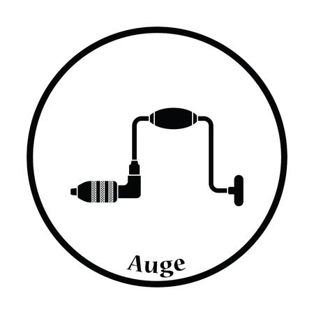 taladro: Icono de auge. diseño del círculo delgada. Ilustración del vector. Vectores