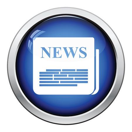 Newspaper icon. Glossy button design. Vector illustration.