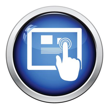 using senses: Tablet icon. Glossy button design. Vector illustration.