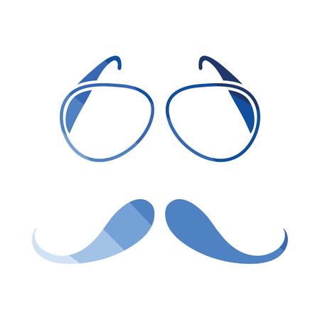 Glasses and mustache icon. Flat color design. Vector illustration. Illustration