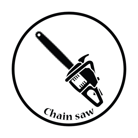chain saw: Icon of chain saw. Thin circle design. Vector illustration.