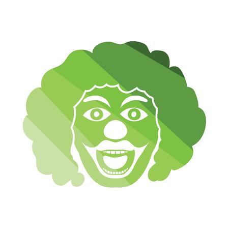 clown face: Party clown face icon. Flat color design. Vector illustration.