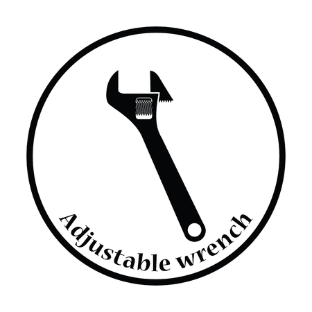 tech support: Icon of adjustable wrench. Thin circle design. Vector illustration.