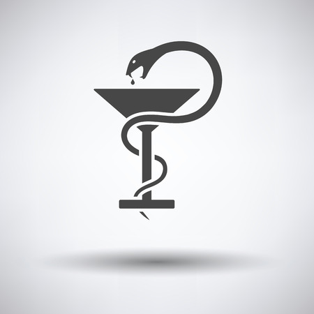 designate: Medicine sign with snake and glass icon on gray background, round shadow. Vector illustration.