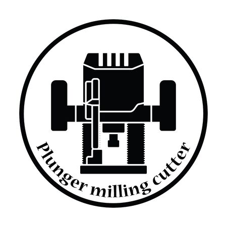 machining: Icon of plunger milling cutter. Thin circle design. Vector illustration.