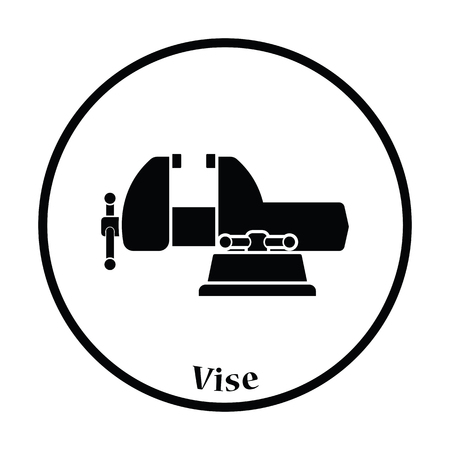 vise: Icon of vise. Thin circle design. Vector illustration.