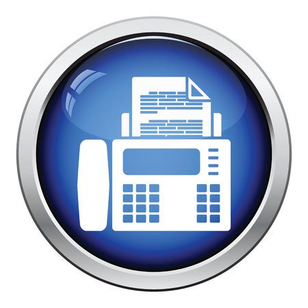 copy machine: Fax icon. Glossy button design. Vector illustration.