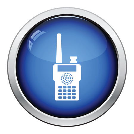 two way: Portable radio icon. Glossy button design. Vector illustration.