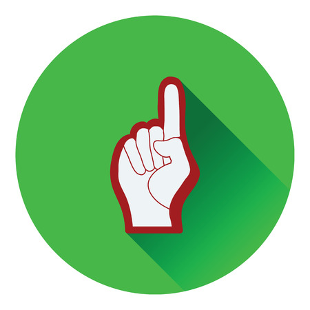 one color: Fan foam hand with number one gesture icon. Flat color design. Vector illustration.