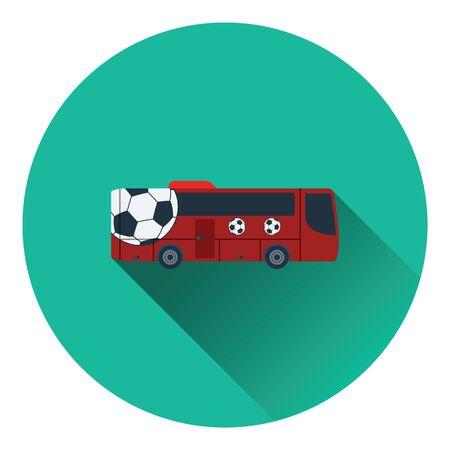 color fan: Football fan bus icon. Flat color design. Vector illustration.