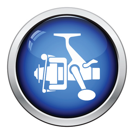 fishing reel: Icon of Fishing reel . Glossy button design. Vector illustration.
