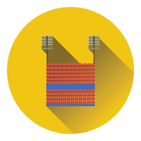 ligh: Stadium tribune with seats and light mast icon. Flat color design. Vector illustration.