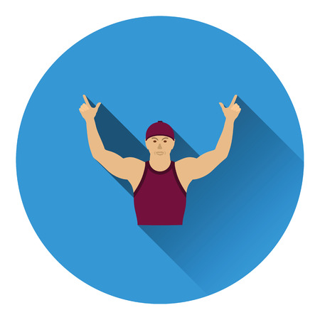 hands up: Football fan with hands up icon. Flat color design. Vector illustration.