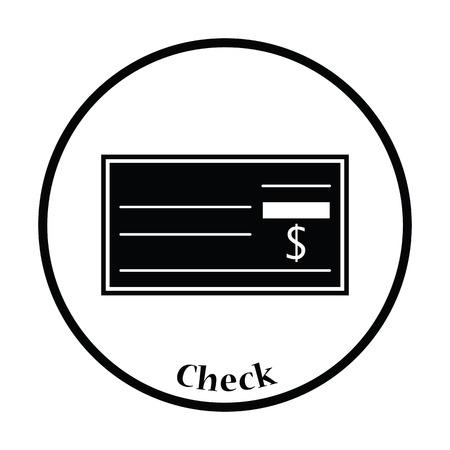 bank check: Bank check icon. Thin circle design. Vector illustration.