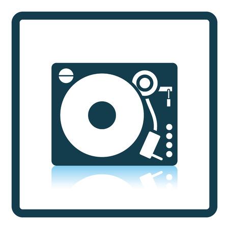 vinyl disk player: Vinyl player icon. Shadow reflection design. Vector illustration.