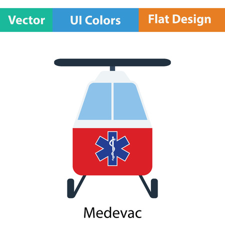 Medevac icon. Flat color design. Vector illustration. Illustration