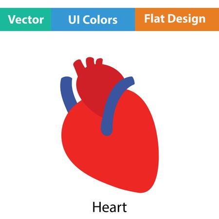 human heart: icono del corazón humano. Diseño plano. Ilustración del vector.