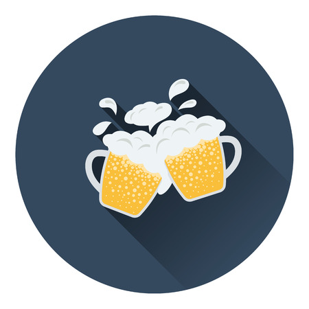 clinking: Two clinking beer mugs with fly off foam icon. Flat color design. Vector illustration.