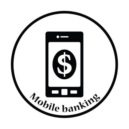 charges: Smartphone with dollar sign icon. Thin circle design. Vector illustration.