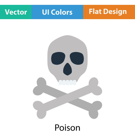 poison sign: Poison sign icon. Flat color design. Vector illustration.
