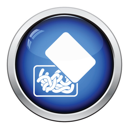 tackle box: Icon of worm container. Glossy button design. Vector illustration.