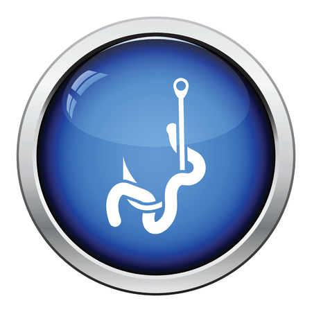 fishhook: Icon of worm on hook. Glossy button design. Vector illustration.