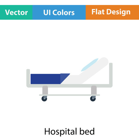 letti: icona letto d'ospedale. design di colore piatto. Illustrazione vettoriale. Vettoriali