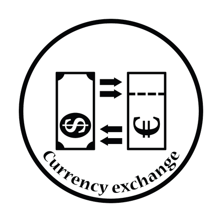 credit union: Currency exchange icon. Thin circle design. Vector illustration.
