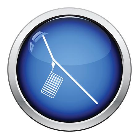 feeder: Icon of  fishing feeder net. Glossy button design. Vector illustration.