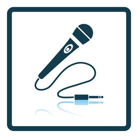 perform: Karaoke microphone  icon. Shadow reflection design. Vector illustration.