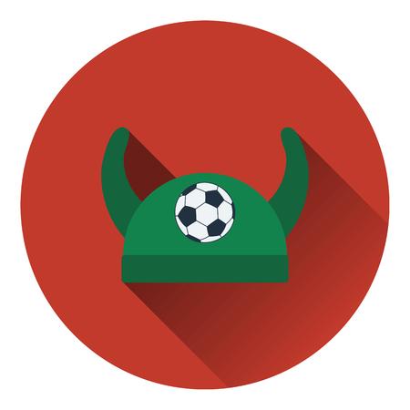 horned: Football fans horned hat icon. Flat color design. Vector illustration. Illustration