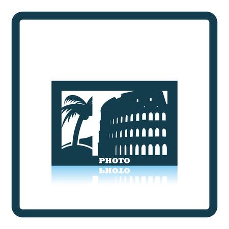 digital photo: Digital photo frame icon. Shadow reflection design. Vector illustration.