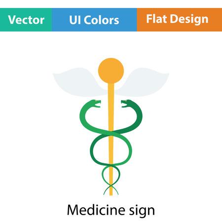 esculapio: Medicine sign icon. Flat design. Vector illustration. Vectores