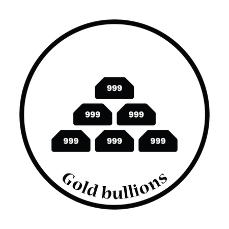 gold bullion: Gold bullion icon. Thin circle design. Vector illustration. Illustration