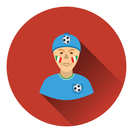 football fan: Football fan with painted face by italian flags icon. Flat color design. Vector illustration.