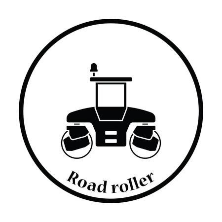 steamroller: Icon of road roller. Thin circle design. Vector illustration. Illustration