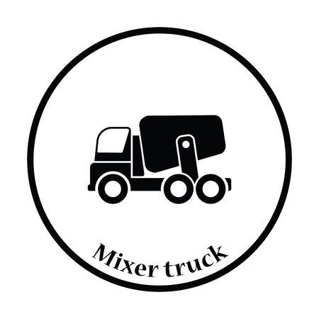 concrete mixer truck: Icon of Concrete mixer truck . Thin circle design. Vector illustration.