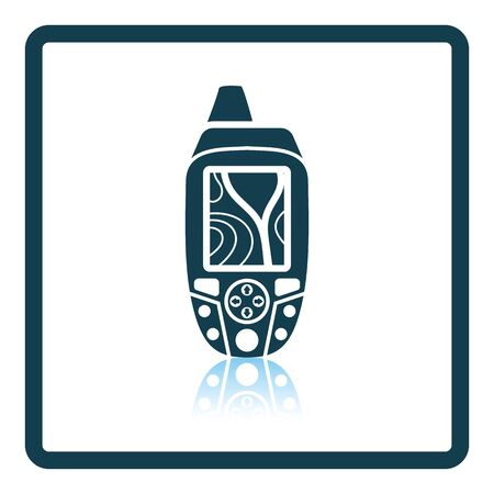 gps device: Portable GPS device icon. Shadow reflection design. Vector illustration.