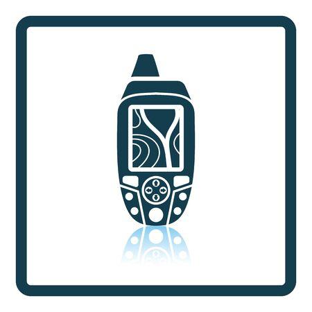 waypoint: Portable GPS device icon. Shadow reflection design. Vector illustration.