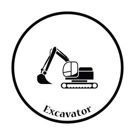 dredger: Icon of construction bulldozer. Thin circle design. Vector illustration.