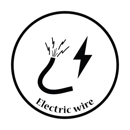 electricity providers: Icon of Wire . Thin circle design. Vector illustration.