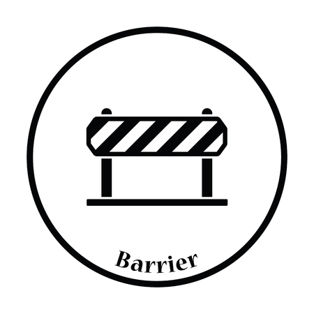 bucolic: Icon of construction fence. Thin circle design. Vector illustration. Illustration