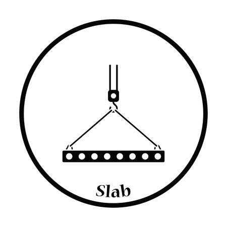 slings: Icon of slab hanged on crane hook by rope slings . Thin circle design. Vector illustration.