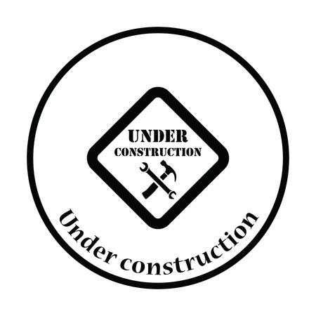 refit: Icon of Under construction. Thin circle design. Vector illustration. Illustration