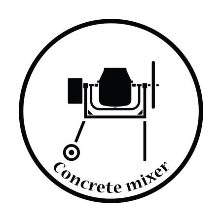 worksite: Icon of Concrete mixer. Thin circle design. Vector illustration.