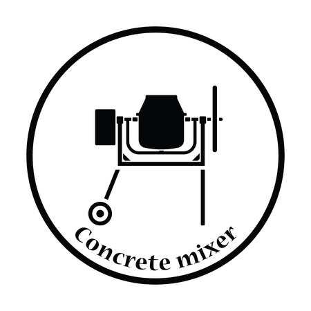 Icon of Concrete mixer. Thin circle design. Vector illustration.