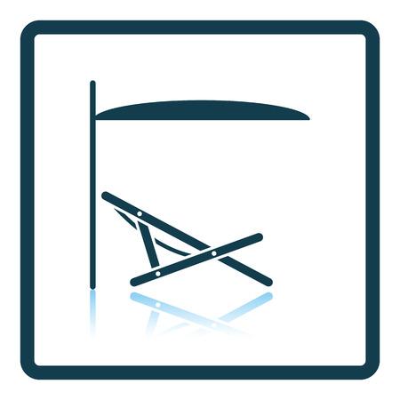recline: Sea beach recliner with umbrella icon. Shadow reflection design. Vector illustration.